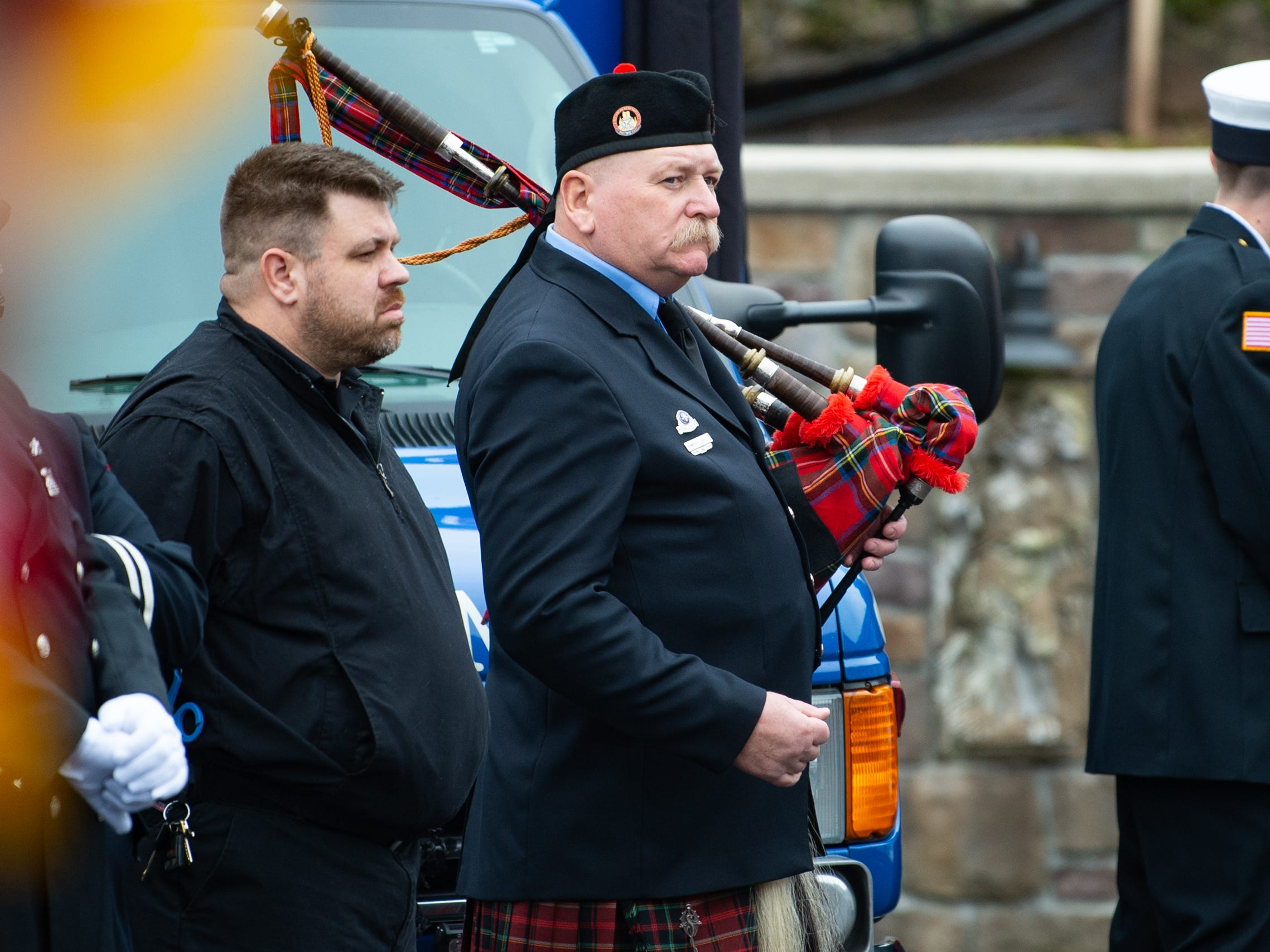 The bag pipes were played as Kohler's coffin was taken to the ambulance, January 4, 2019.