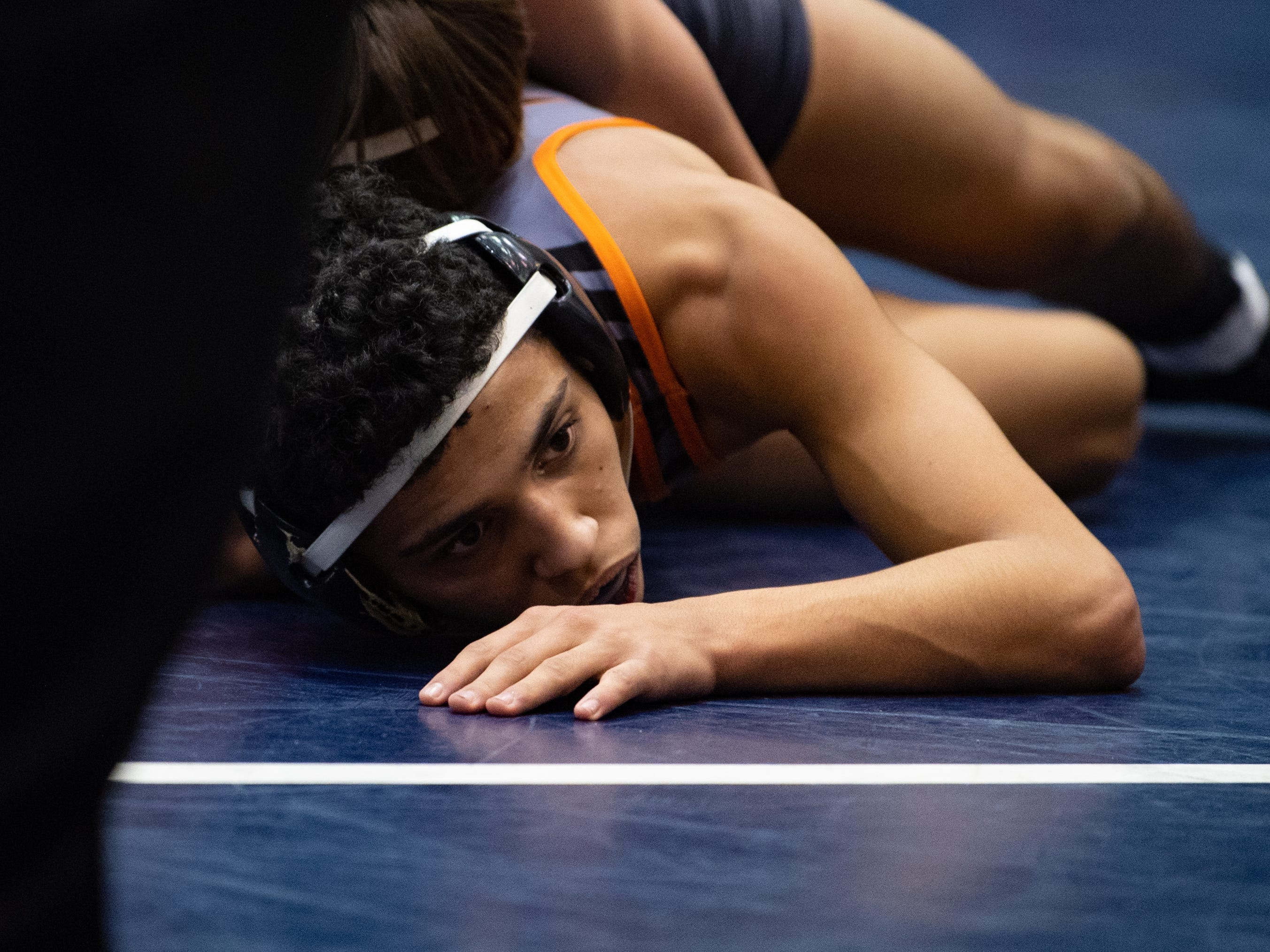 Donovan Carrero of Central York tries to escape the grapple during the wrestling dual meet between Dallastown and Central York at Dallastown Area High School, Thursday, January 3, 2019. The Wildcats defeated the Panthers 62-18.