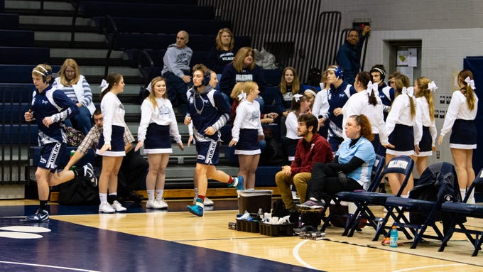 Dallastown makes their entrance before their wrestling meet against Central York, Thursday, January 3, 2019. The Wildcats defeated the Panthers 62-18 at home.