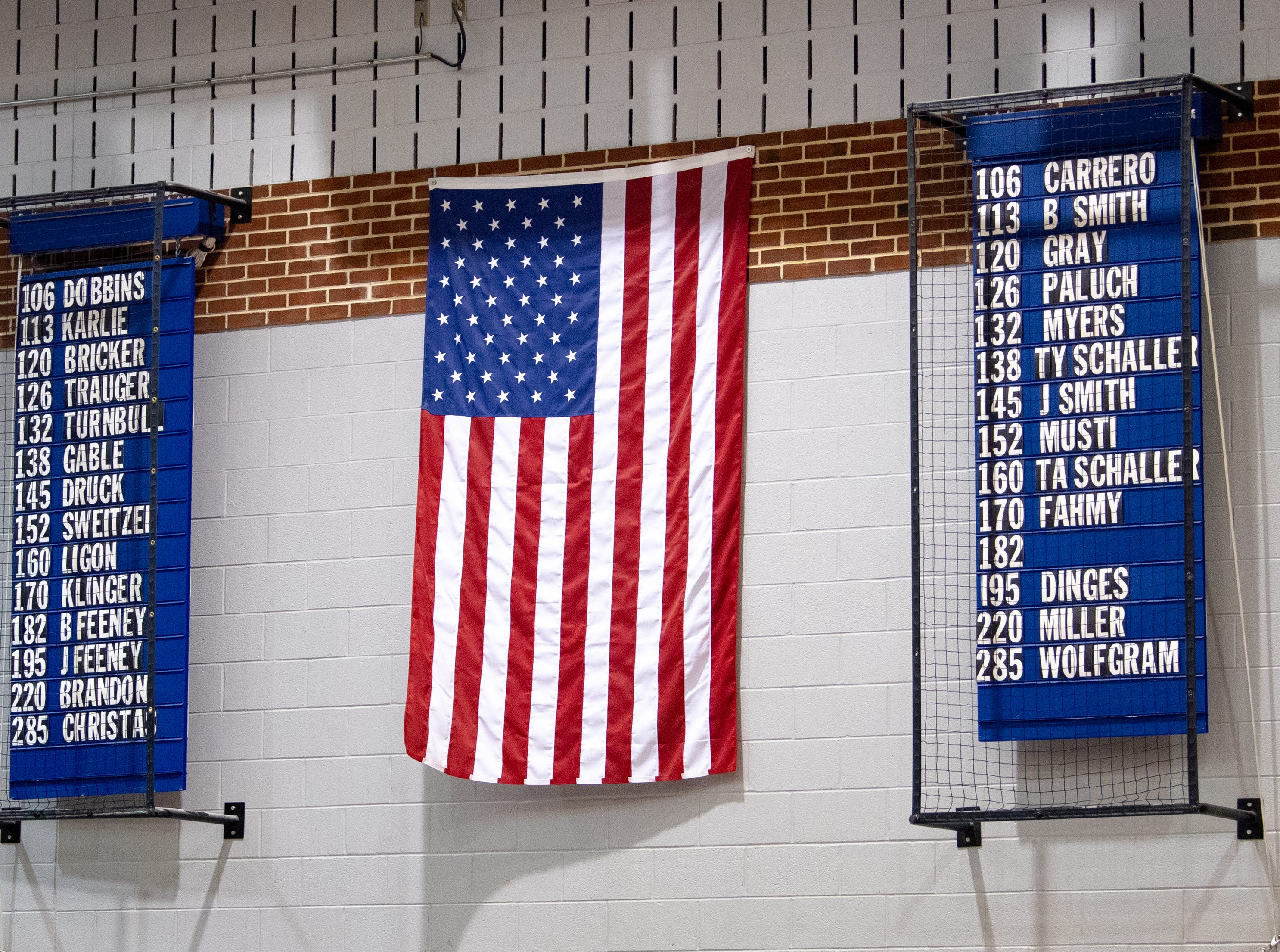 Dallastown and Central York have the names on the wall of the athletes that will be going head to head in the match, Thursday, January 3, 2019. The Wildcats defeated the Panthers 62-18.