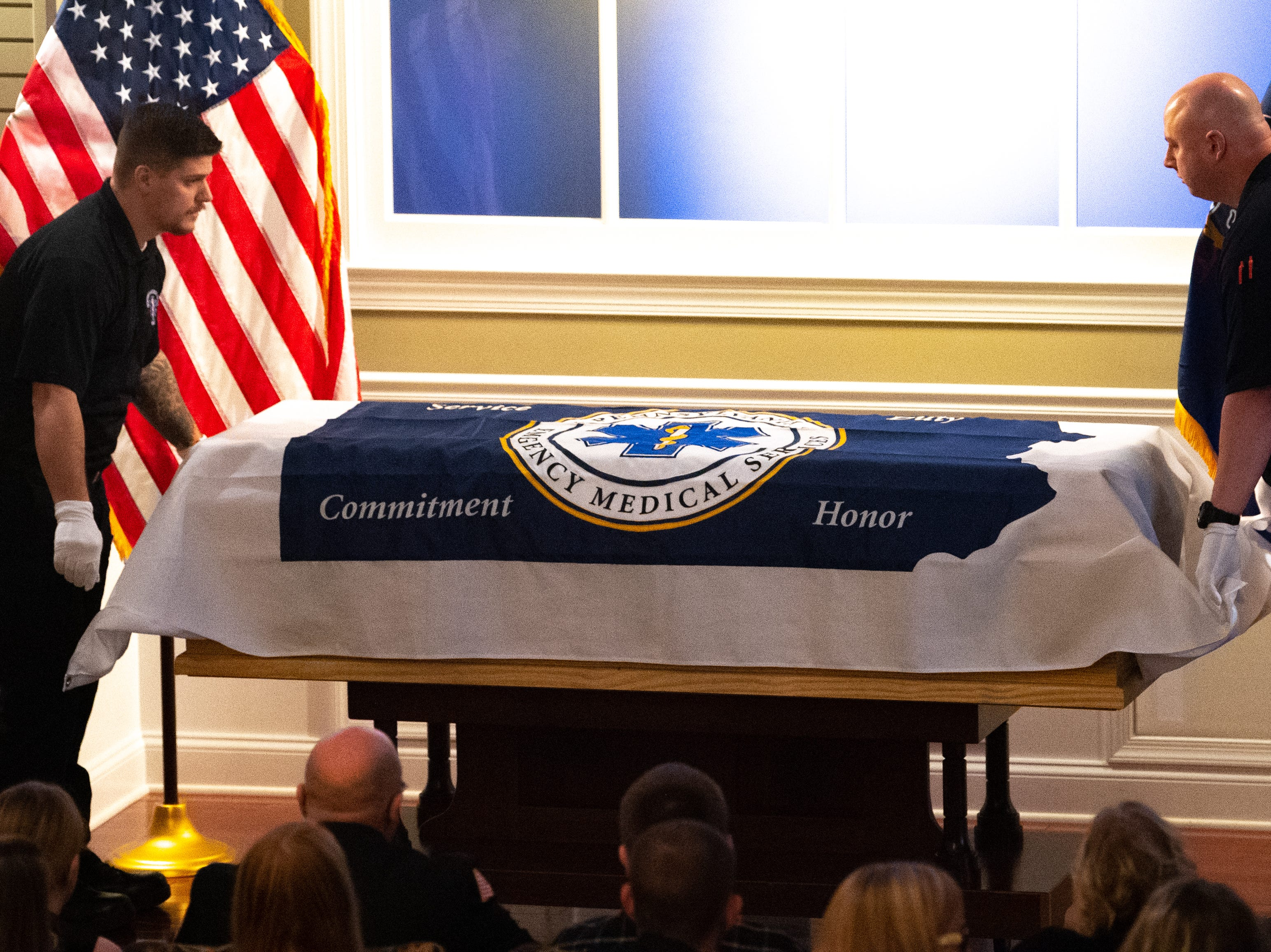 The flag fit the coffin perfectly during the funeral for Robert Kohler Sr. at the Diehl Funeral Home in Mount Wolf, January 4, 2019.