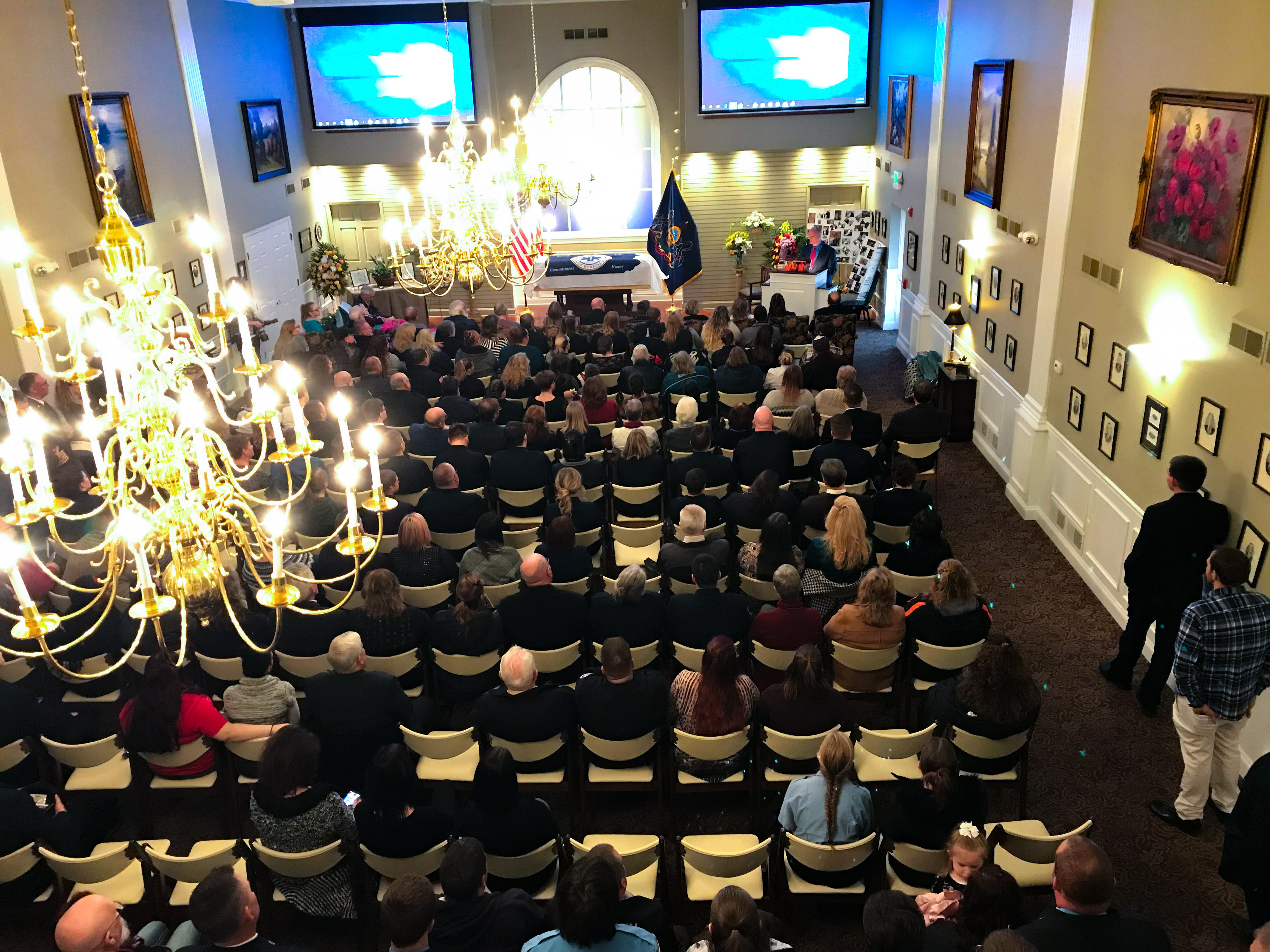 Robert Kohler Sr.'s funeral service was filled with friends, family and EMS workers, January 4, 2019.