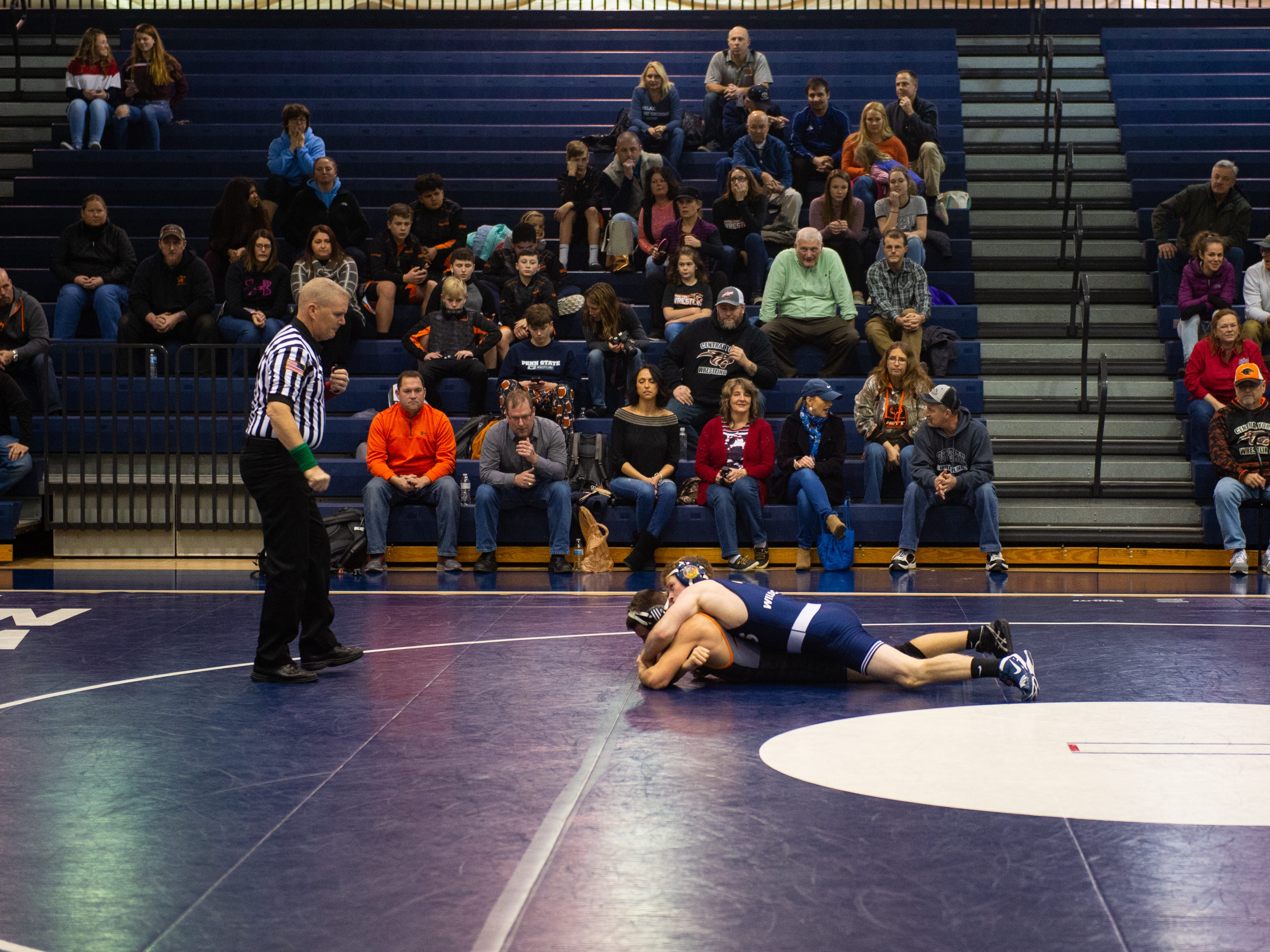 The crowd watches as the first wrestling match of the night commences, Thursday, January 3, 2019. The Dallastown Wildcats defeated the Central York Panthers 62-18.