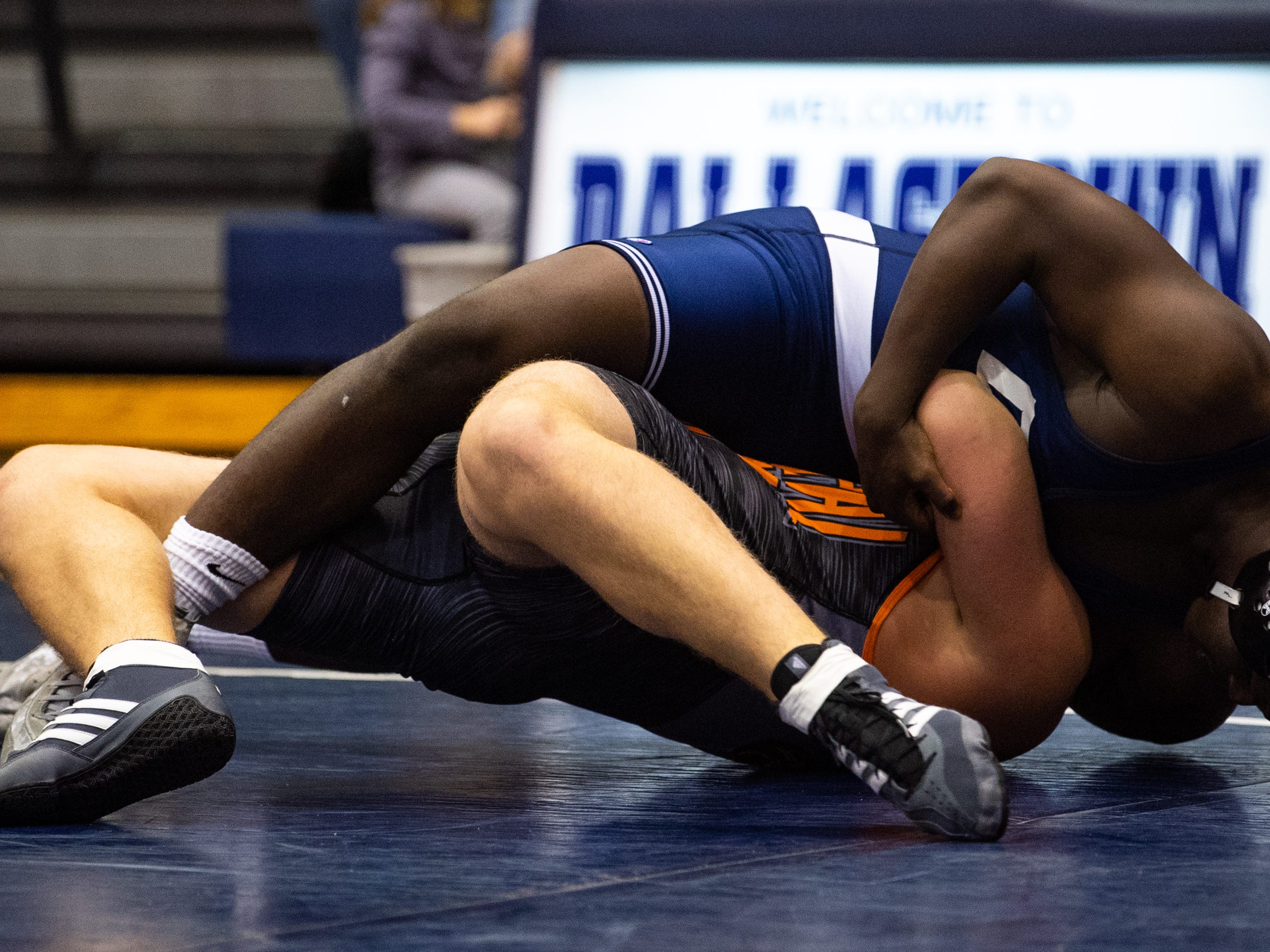 Jamal Brandon of Dallastown is in full control of Ethan Miller of Central York during the wrestling dual meet between Dallastown and Central York at Dallastown Area High School, Thursday, January 3, 2019. The Wildcats defeated the Panthers 62-18.