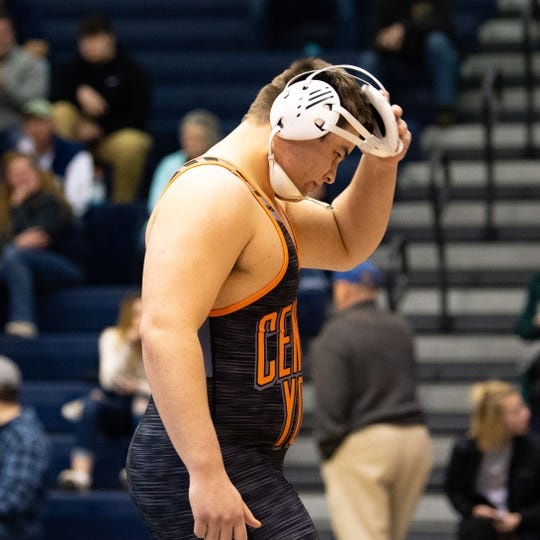 Michael Wolfgram of Central York walks off of the mat after winning by way of forfeit during the wrestling dual meet between Dallastown and Central York at Dallastown Area High School, Thursday, January 3, 2019. The Wildcats defeated the Panthers 62-18.
