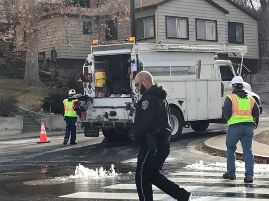 Crews respond to a water main break at California Avenue and Forson Drive in Old Southwest Reno on Friday morning.