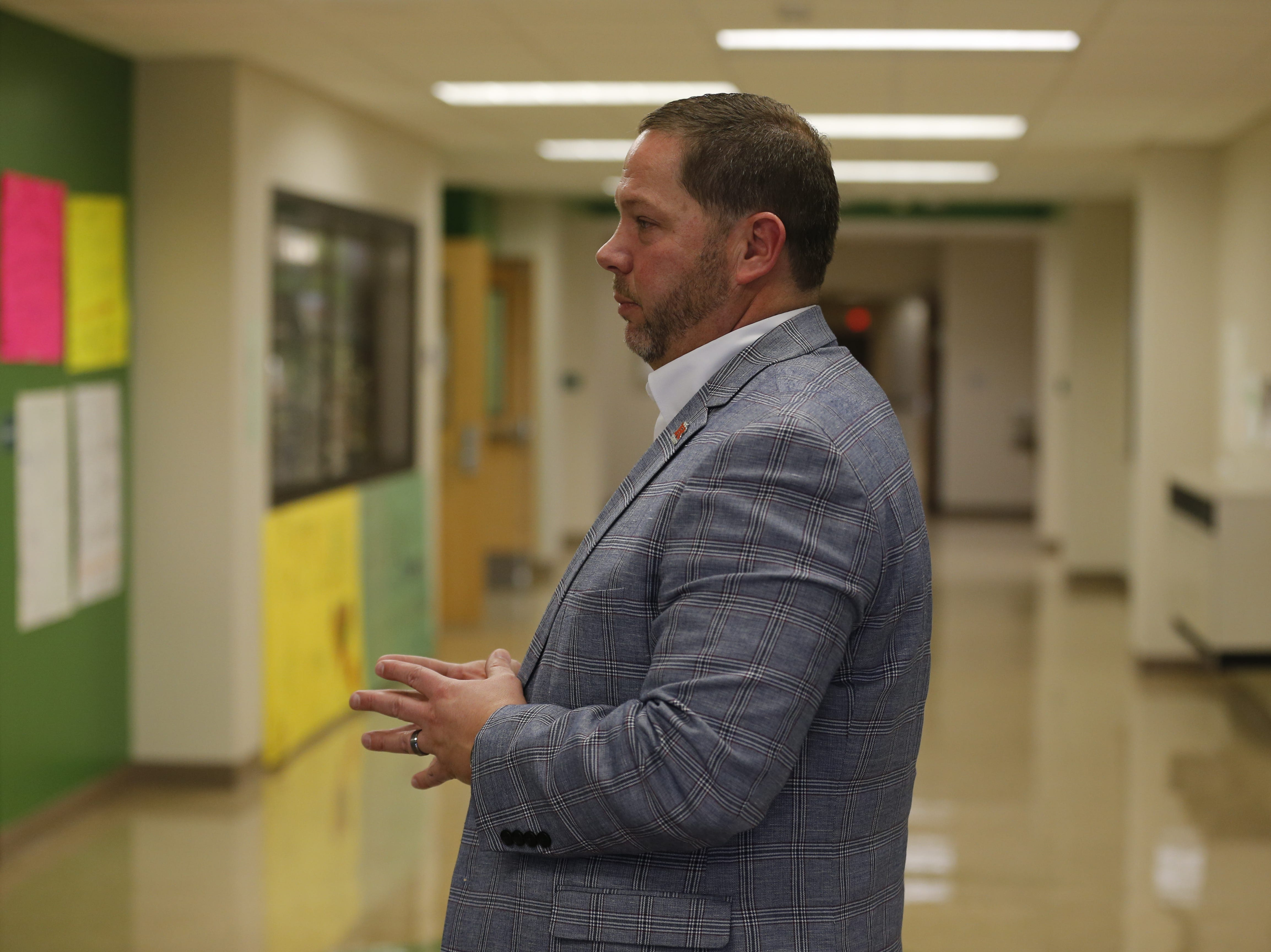 Richmond Community Schools Superintendent Todd Terrill gives the media a tour of Dennis Intermediate School on Friday, Jan. 4.