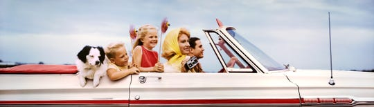 Colorama #308 from 1968: FAMILY IN CONVERTIBLE, TEXAS.