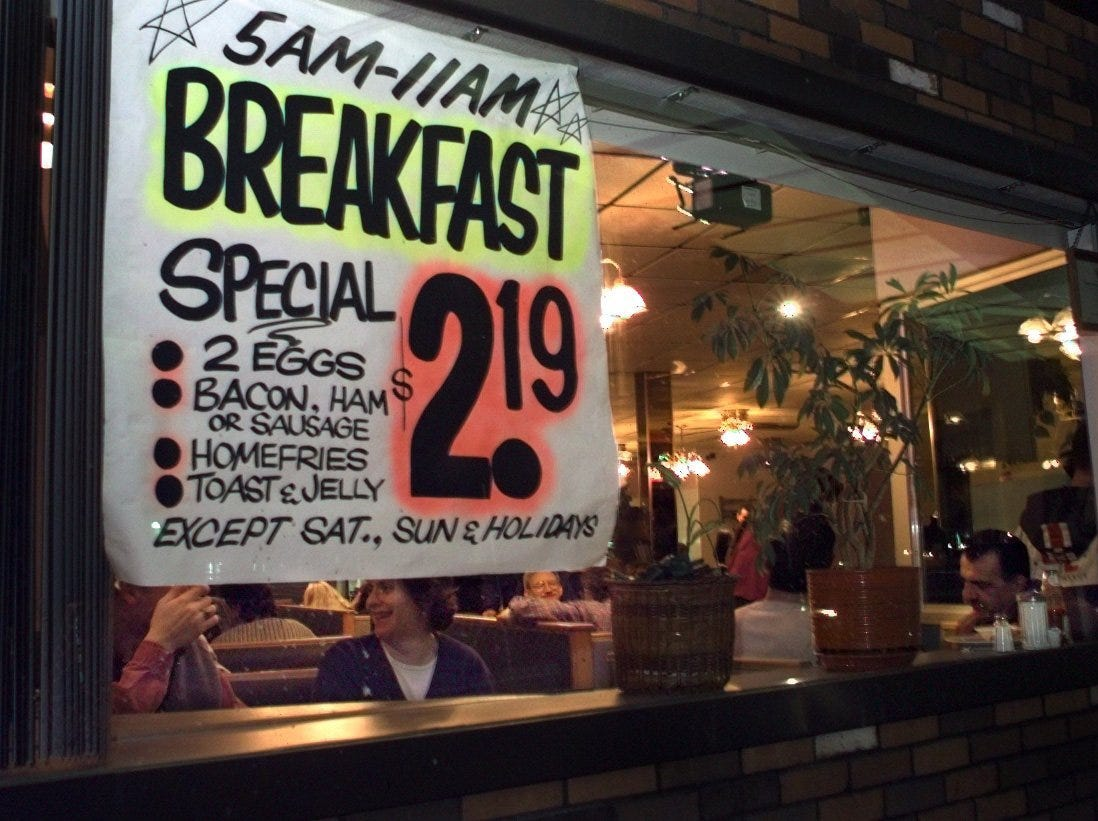 A breakfast special in a window at Gitsis.