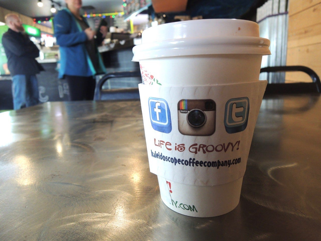 The caramel-flavored mocha is a popular coffee drink at Kaleidoscope Coffee.