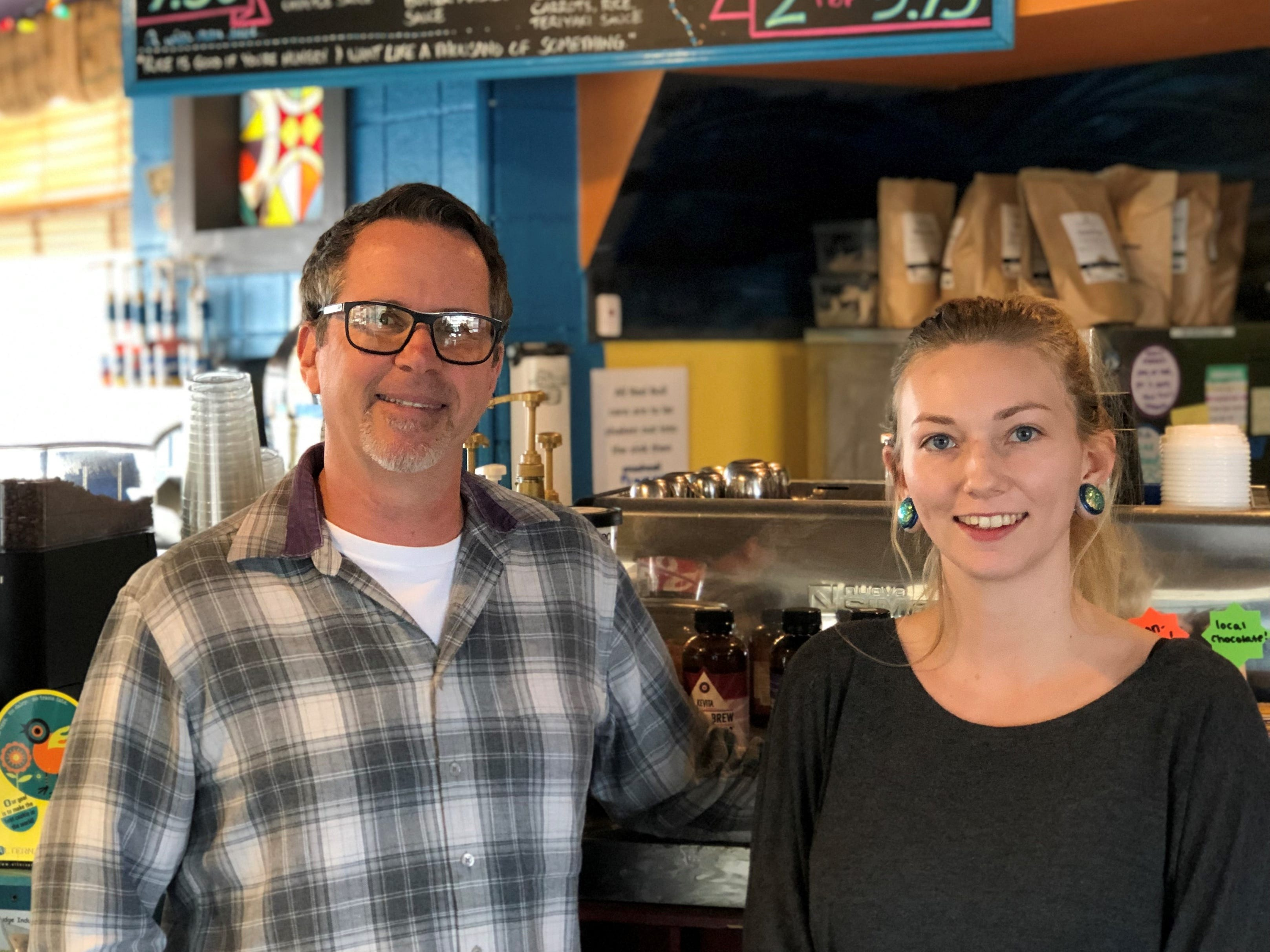Managers Al Mires and Angelica Spade at Kaleidoscope Coffee's Athens Avenue cafe and restaurant in Redding.