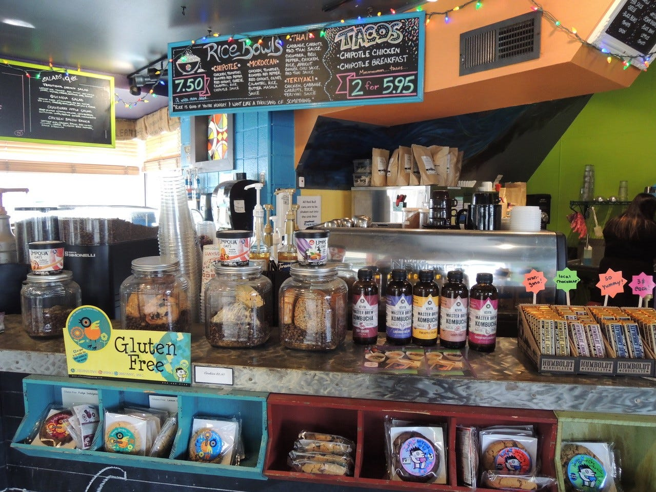 Some of the items for sale at the colorful Kaleidoscope Coffee on Athens Avenue in Redding.