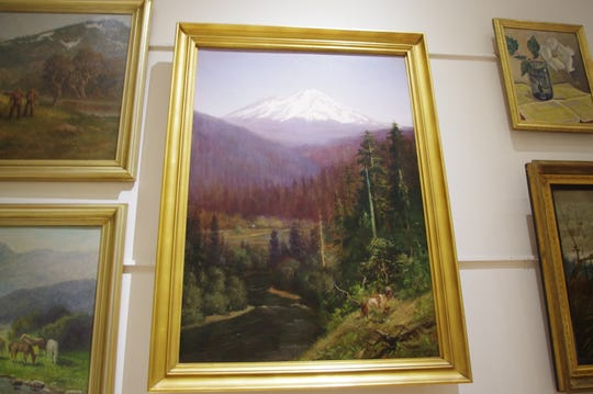 Most of the paintings in the Shasta State Historic Park's Boggs Collection have been re-hung in the gallery at the Shasta Courthouse Museum. The paintings were removed as a precaution during the Carr Fire in July.