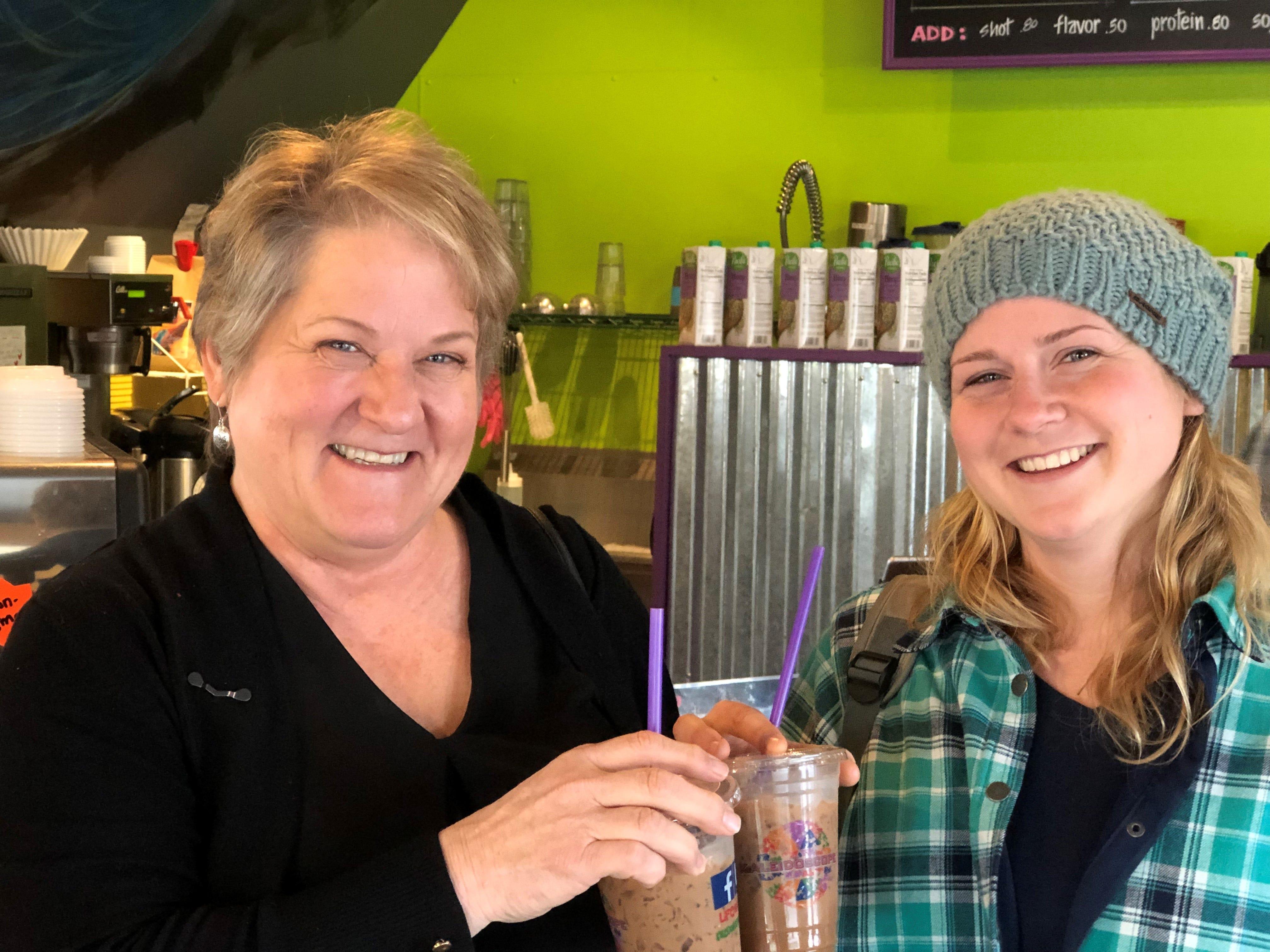 Linda Burbank and her daughter Ashley Christensen are regulars at Kaleidoscope Coffee.
