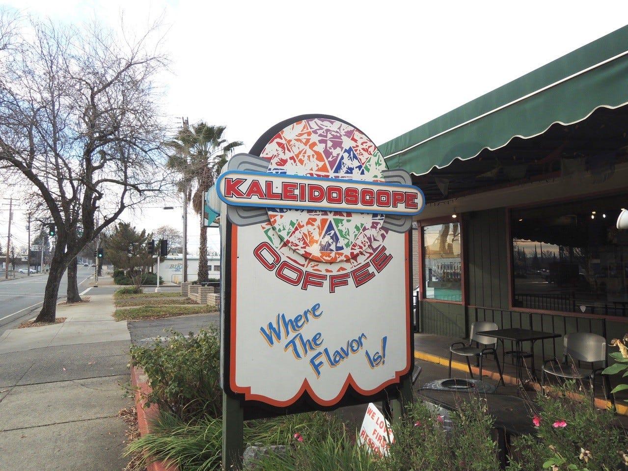 Entrance to Kaleidoscope Coffee on Athens Avenue in Redding.