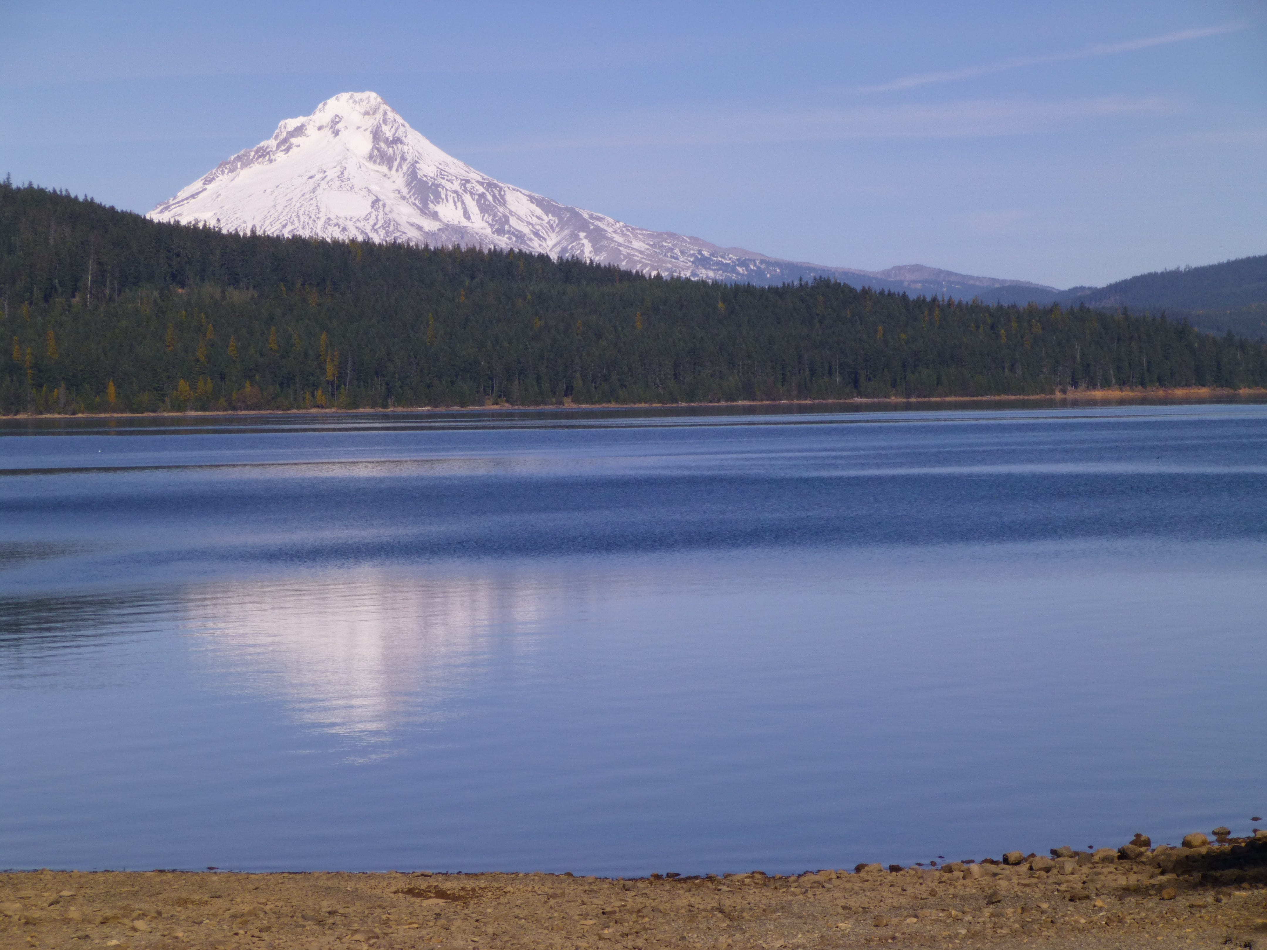 Mount Hood is reflected in Timothy Lake