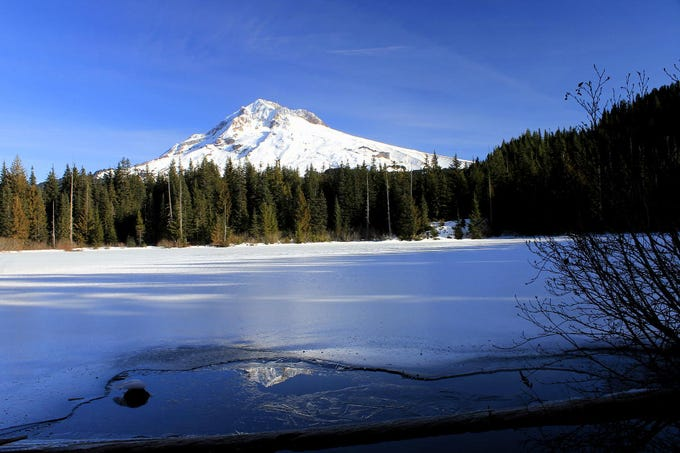 Burnt Lake in the winter, with a nice view of Mount Hood.