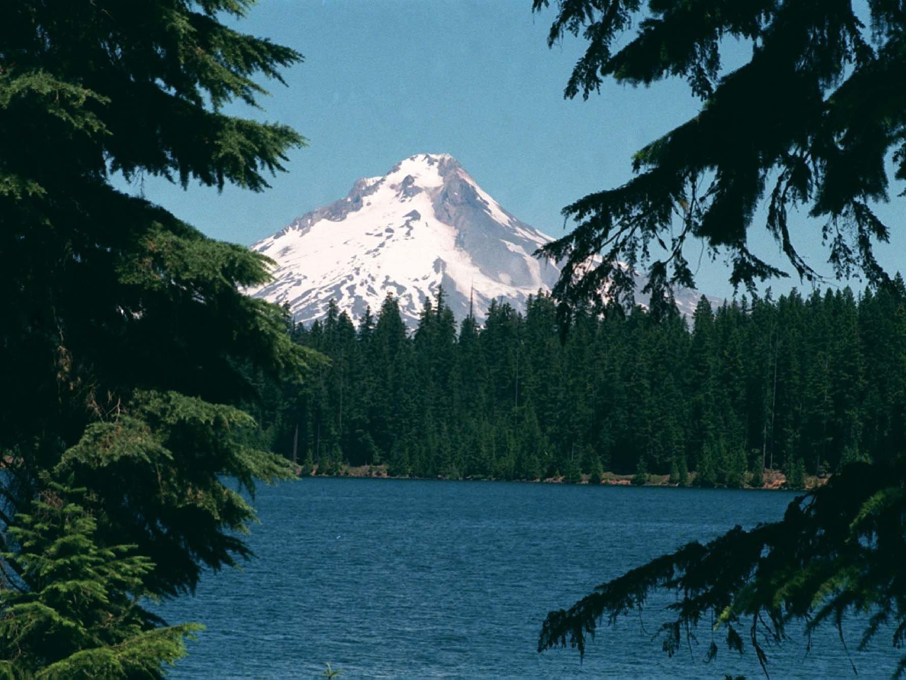 Timothy Lake with Mount Hood overhead.