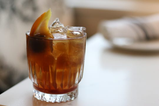 The Filbert Old Fashioned ($12) at Filberts Farmhouse Kitchen in Aurora, pictured here on Jan. 3, 2019, features hazelnut-infused bourbon with orange and fig bitters.