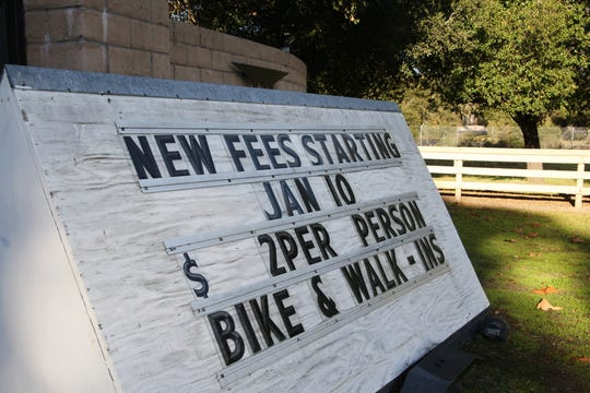 A sign announcing park entrance fees stands at the gate to Toro County Park. Jan. 4, 2019.