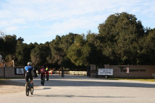 Bikers enter Toro County Park. Soon, they will be required to pay $2 per person. Jan. 4, 2019.