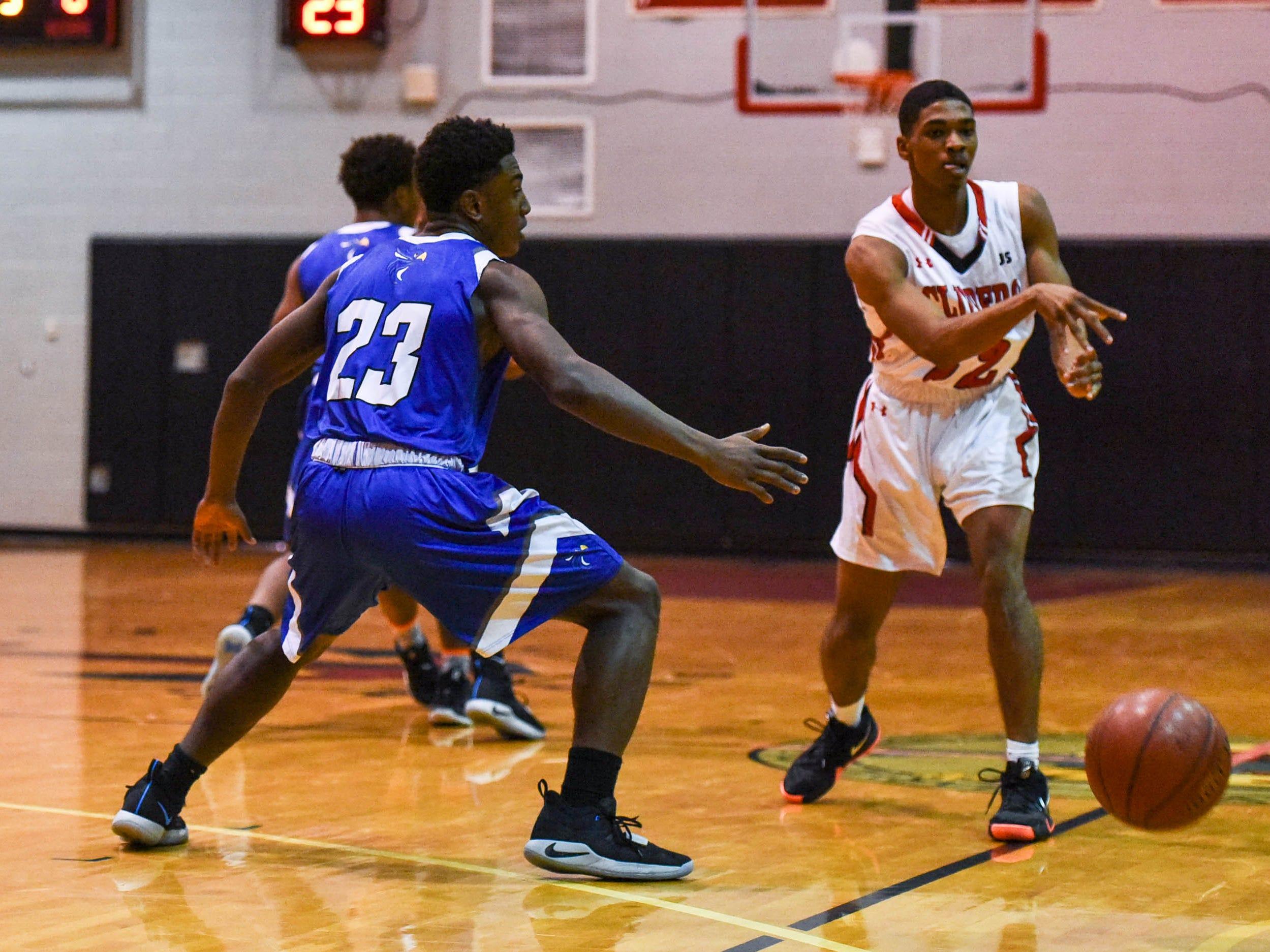 Bennett's Jyrin Harmon (22) passes the ball during a game against Decatur at Bennett High School in Salisbury on Thursday, Jan 3, 2018.