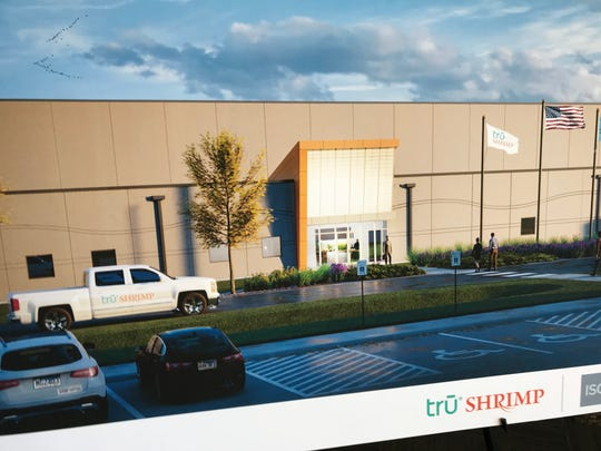 A poster-board rendering shows the new Tru Shrimp facility planned in Madison.