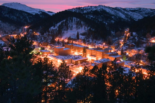 This night-time view of Deadwood is from Mt. Moriah Cemetery, which received a three-year, $4.8 million comprehensive restoration thanks to historic preservation funds generated by legalized gaming.