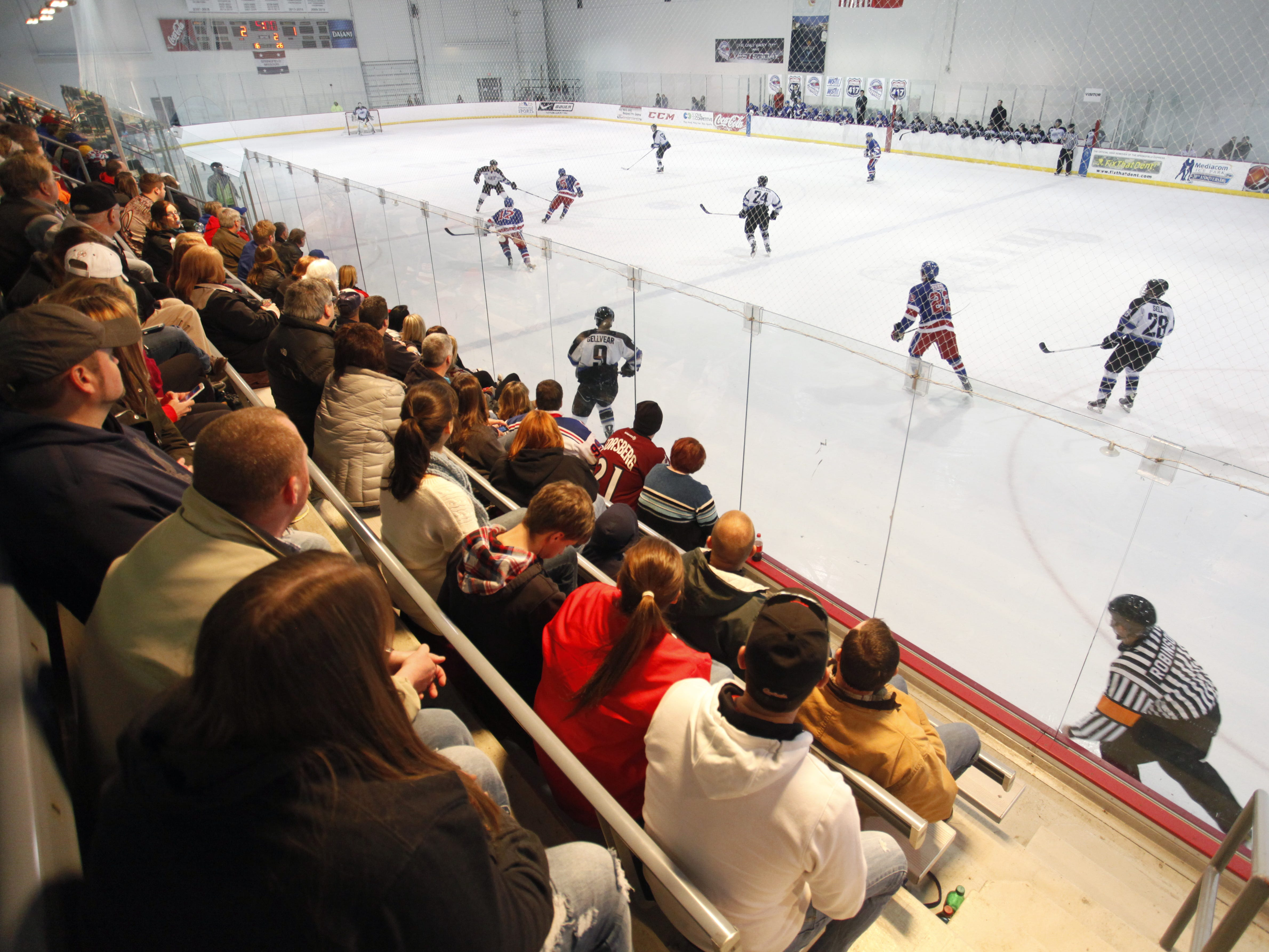 Fans packed the stands for a Springfield Express hockey game agasint the Wichita Jr. Thunder at the Mediacom Ice Park on Friday, Feb. 13, 2015.