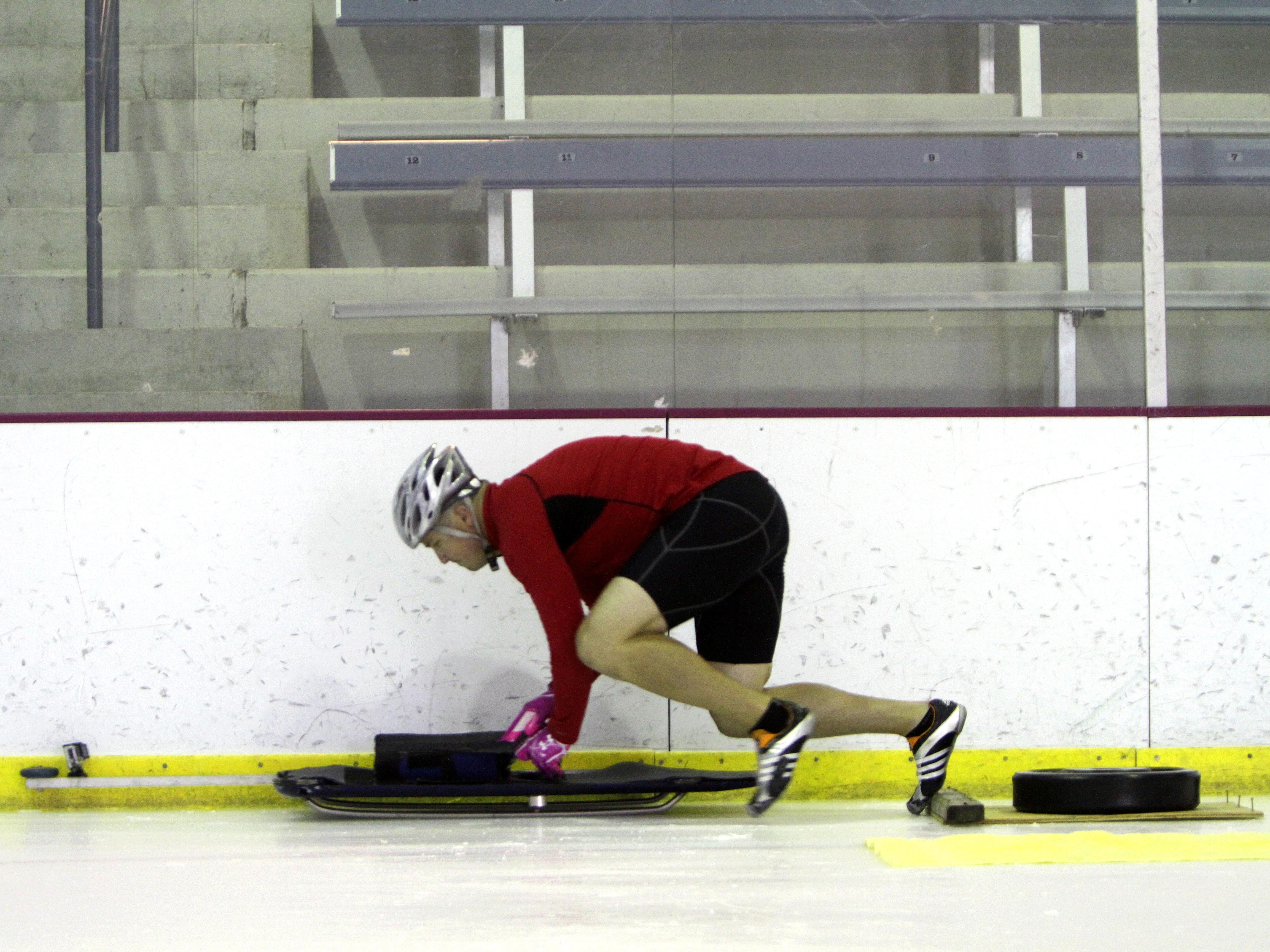 Greg West, a Rogersville native, trains for the Olympics in the skeleton at the Mediacom Ice Park on Tuesday, July 30, 2013.