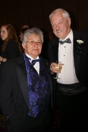 Rose Degray, a board member for the Black Tie as well as AIDS Project of the Ozarks, and Byrne Blackwood, a board member for AIDS Project of the Ozarks and professor emeritus of theatre and dance at Missouri State University, at the Black Tie gala LGBT advocacy event on Nov. 11, 2012.