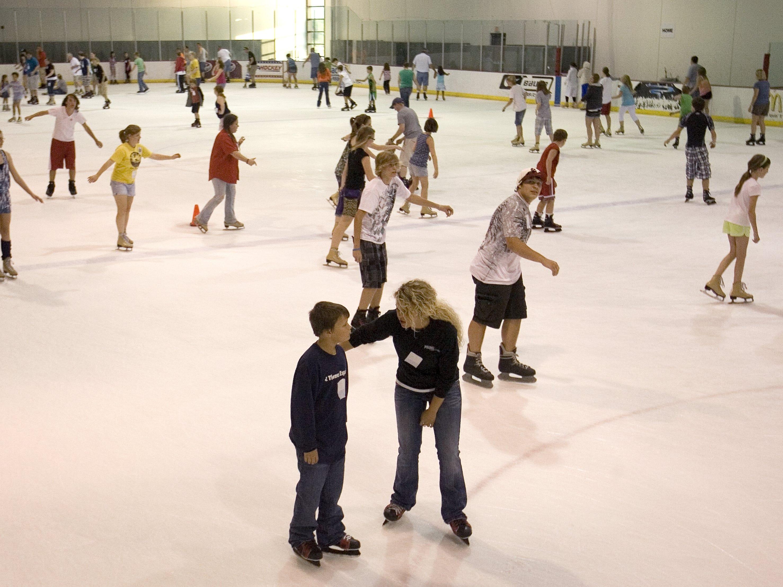 People skate at Mediacom Ice Park.
