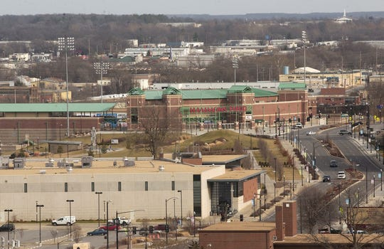 A view of the ice rink, Jordan Valley Park and Hammons Field as seen from the top of the former Heer's Building.