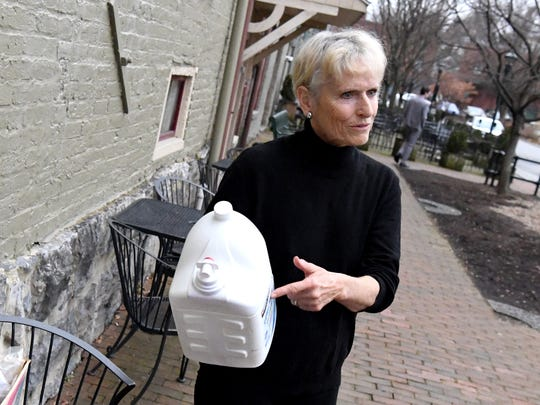 Melody Tennant of Raphine talks efforts to cut back on the use of plastics by her household of two in December during an interview in Staunton on Friday, January 4, 2019.