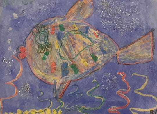 A colorful and glittery fish, by Riley Gildea. This art was created around 2003 for The Children's Art Network.
