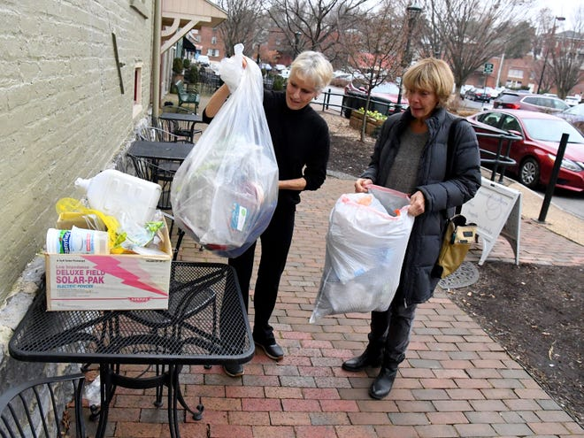 Melody Tennant of Raphine and Ellen Brock of Middlebrook talk about the amount of plastic still produced by three different households of two. They talk of efforts they and another friend made to reduce the amount of plastic used in December, speaking during an interview in Staunton on Friday, January 4, 2019.