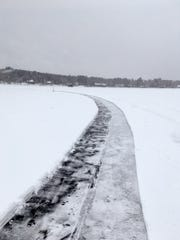 Ice on Green Prairie Fish Lake in Little Falls is scored and will be cut ahead of the Sunny Zwilling Memorial Ice Carousel Extravaganza Jan. 12-13.