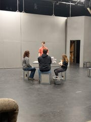 "Holly Lathe, Jeremy Wollersheim, Annabelle Trombley and Jonathon Becker rehearse for the GREAT Theatre performance of ""The Giver."""