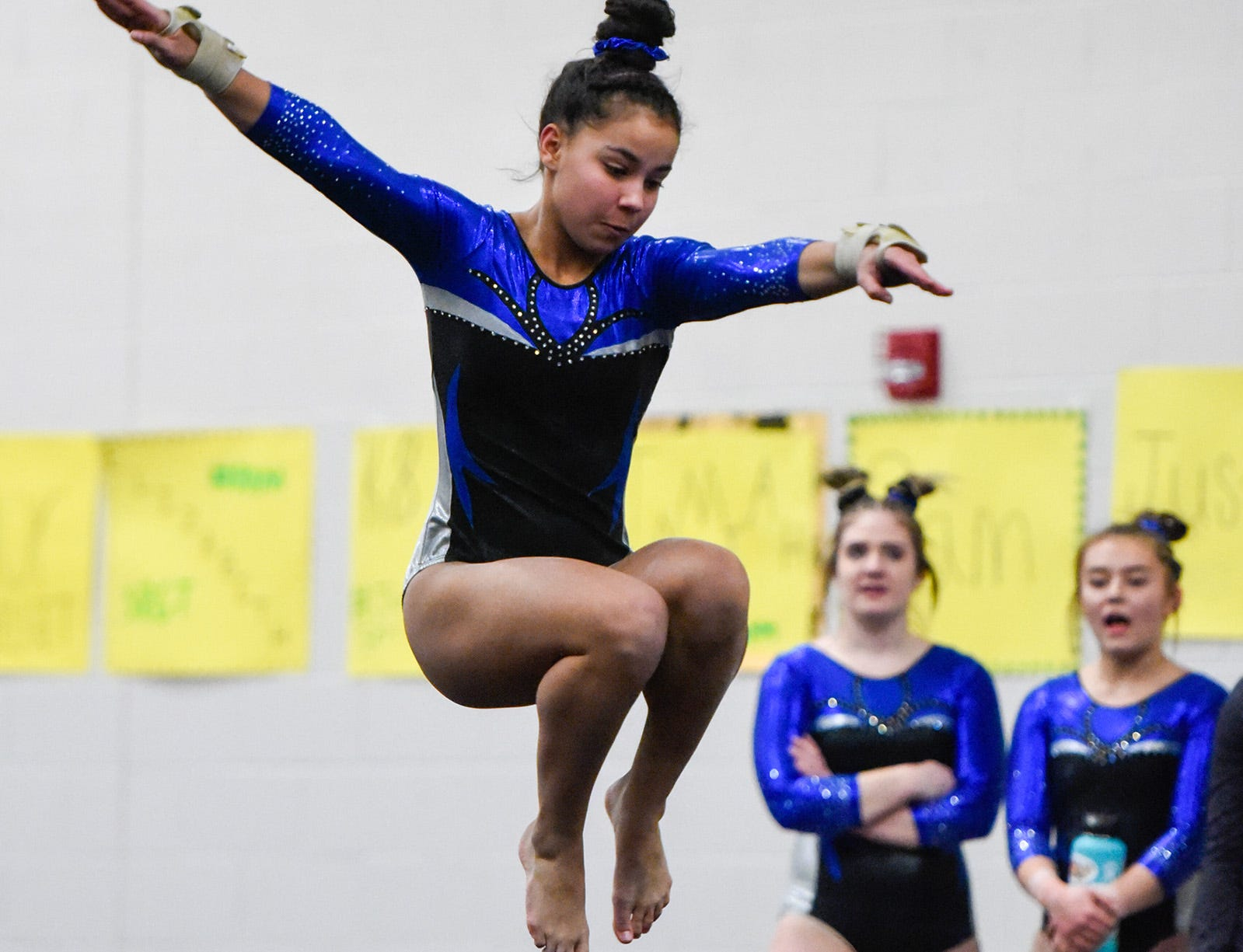 Sartell's Ella Simmons does her floor routine Thursday, Jan. 3, at the Sauk Rapids-Rice High School.