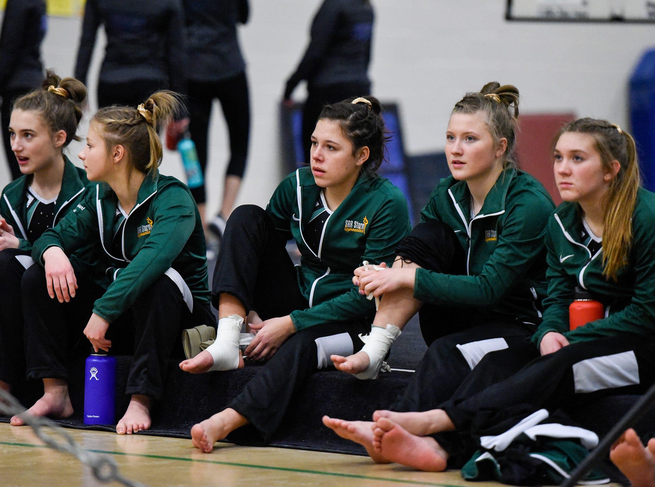 Sauk Rapids' gymnasts compete against  Sartell Thursday, Jan. 3, at the Sauk Rapids-Rice High School.