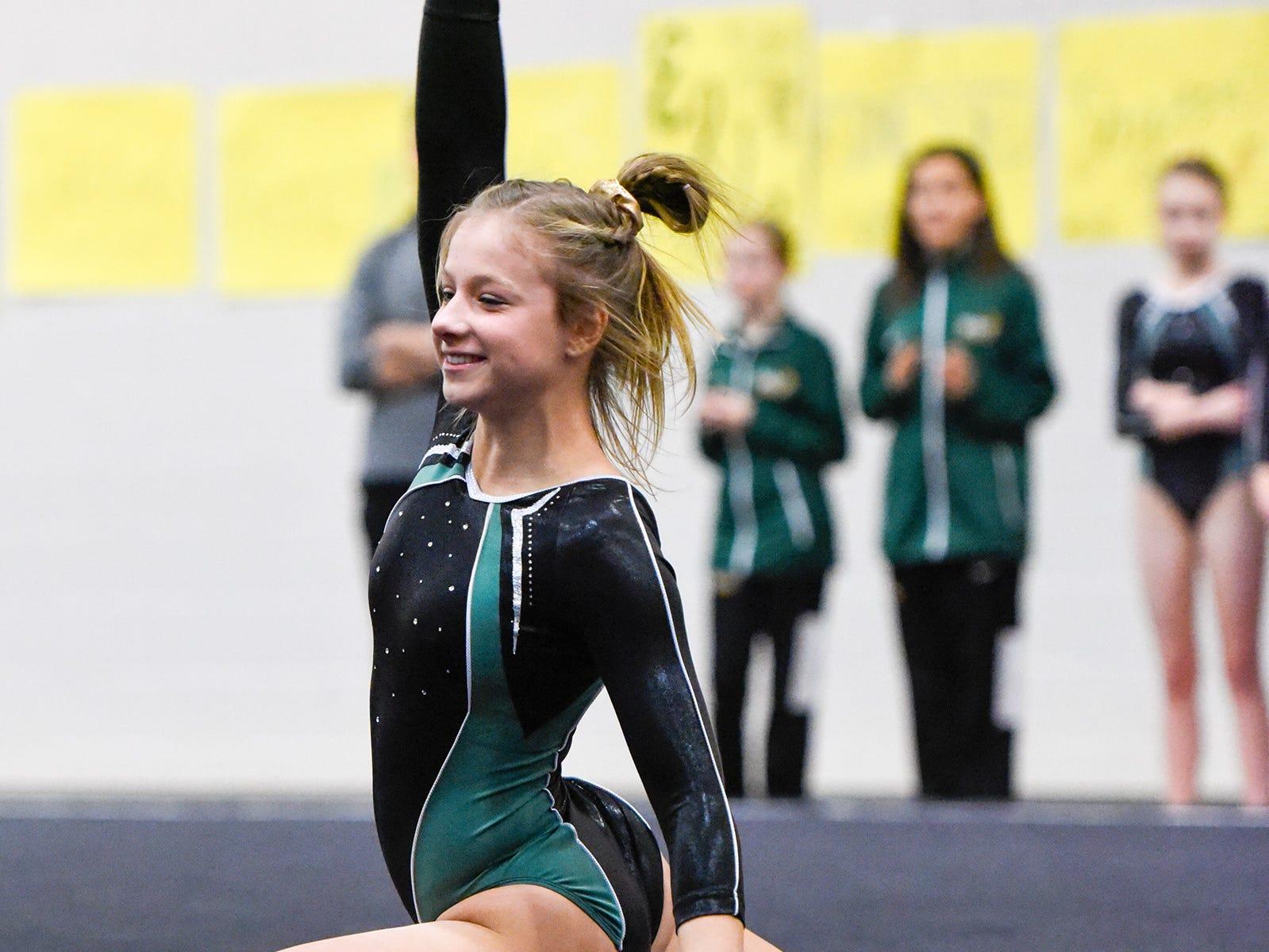 Sauk Rapids' Elie Weinert does her floor routine Thursday, Jan. 3, at the Sauk Rapids-Rice High School.