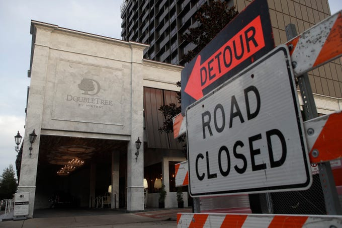 Adams Street between Park and College avenues will now remain closed until March after a delay due to the ongoing construction at the DoubleTree by Hilton Hotel.