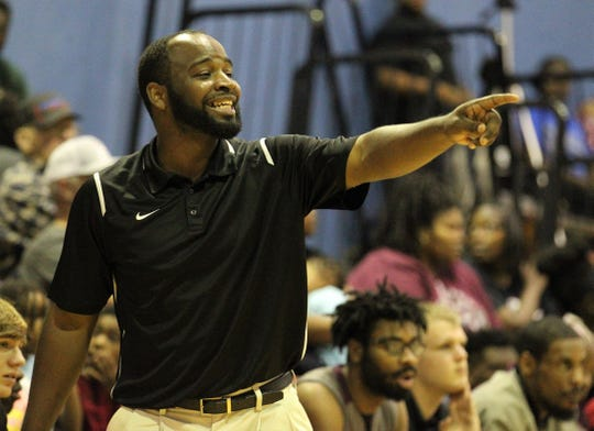 Allen Demps coaches as Madison County won 70-44 at Jefferson County on Jan. 3, 2019.