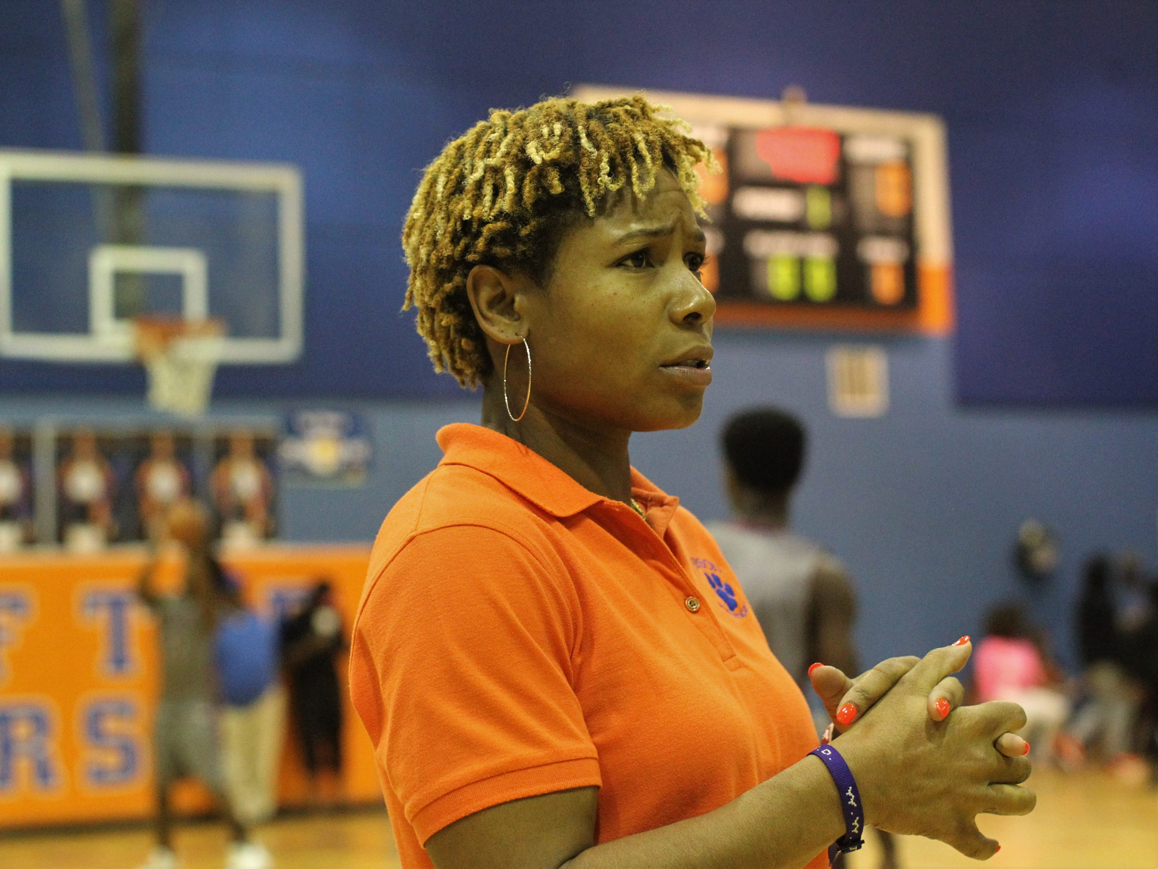 Jefferson County boys basketball coach Q'Vaunda Curry watches her team warm up prior to Madison County winning 70-44 at Jefferson County on Jan. 3, 2019.