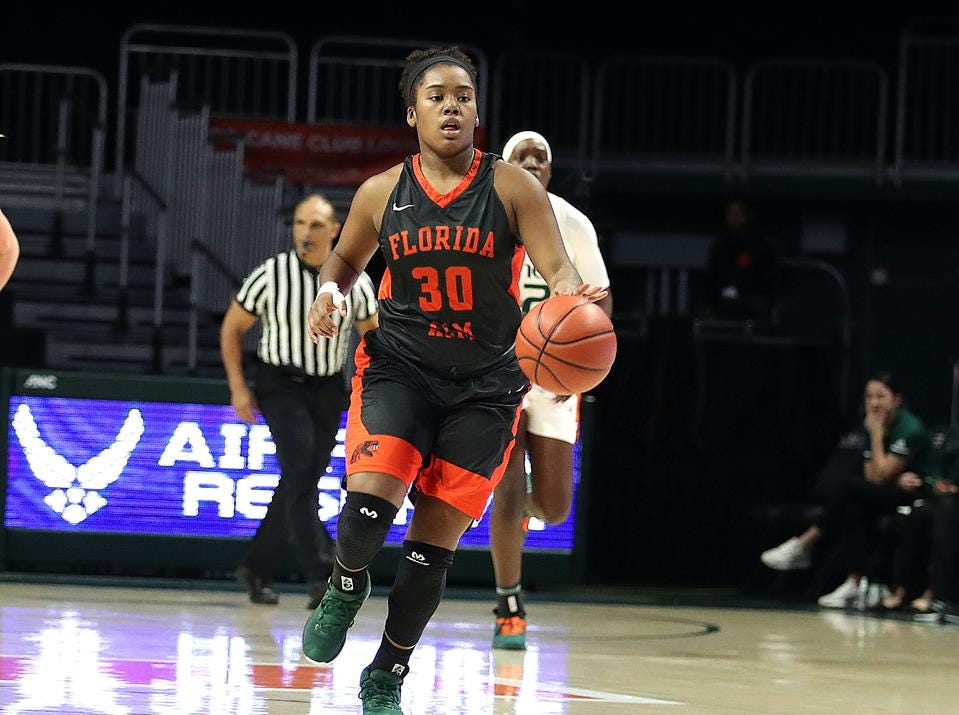 FAMU's Jasmine Ballew looks to break down the Hurricanes' defense in the Miami Holiday Classic.