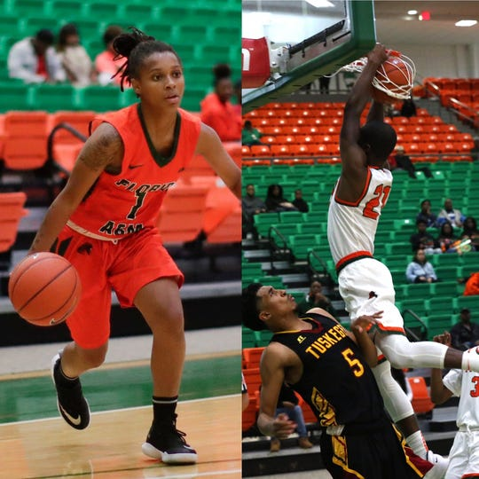 Left: FAMU freshman guard Mya Moye leads the team in scoring with 11.2 points per game. Right: Justin Ravenel is fifth in the MEAC averaging 14.4 points.
