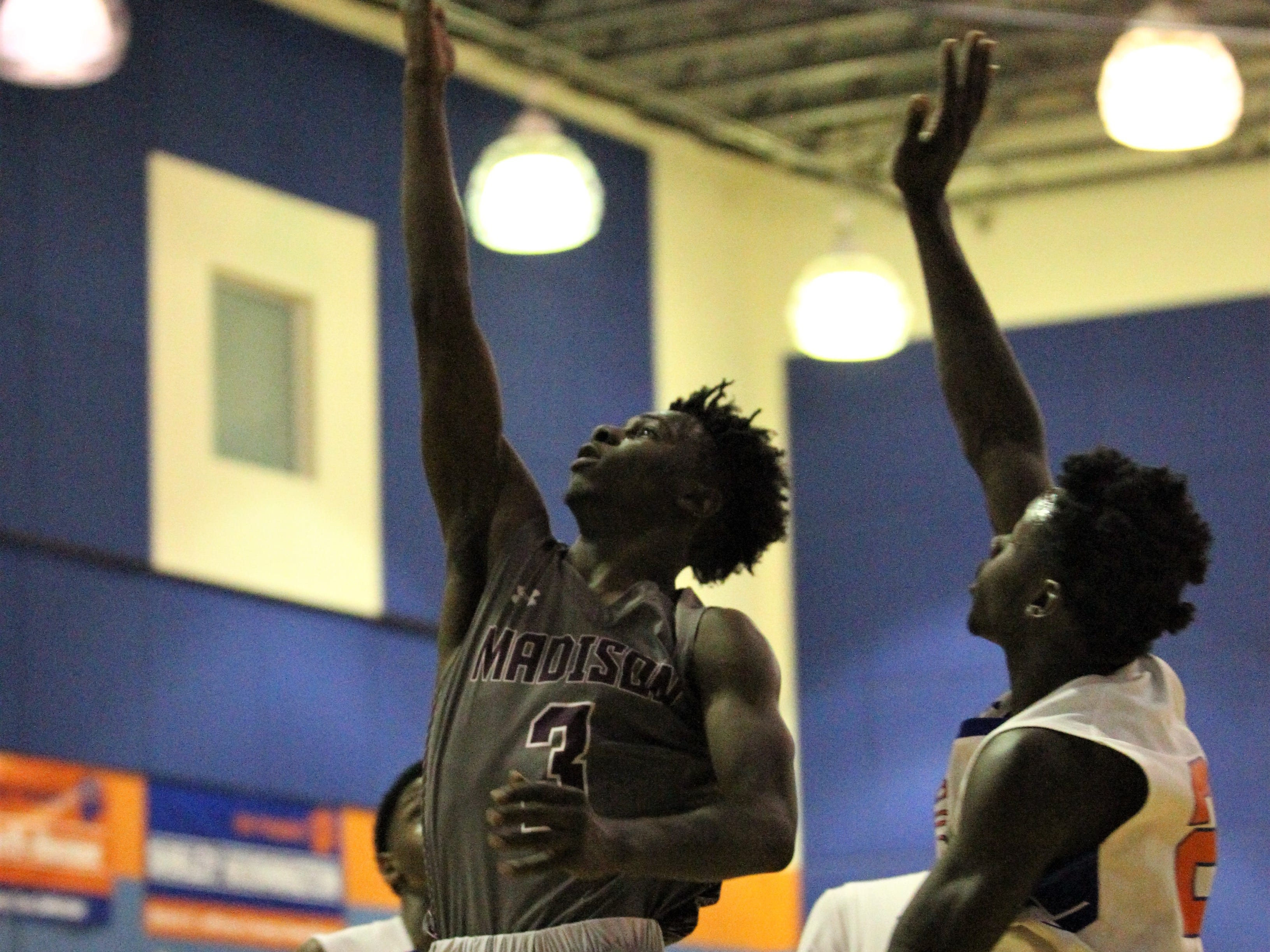 Chris Simmons soars for a layup as Madison County won 70-44 at Jefferson County on Jan. 3, 2019.