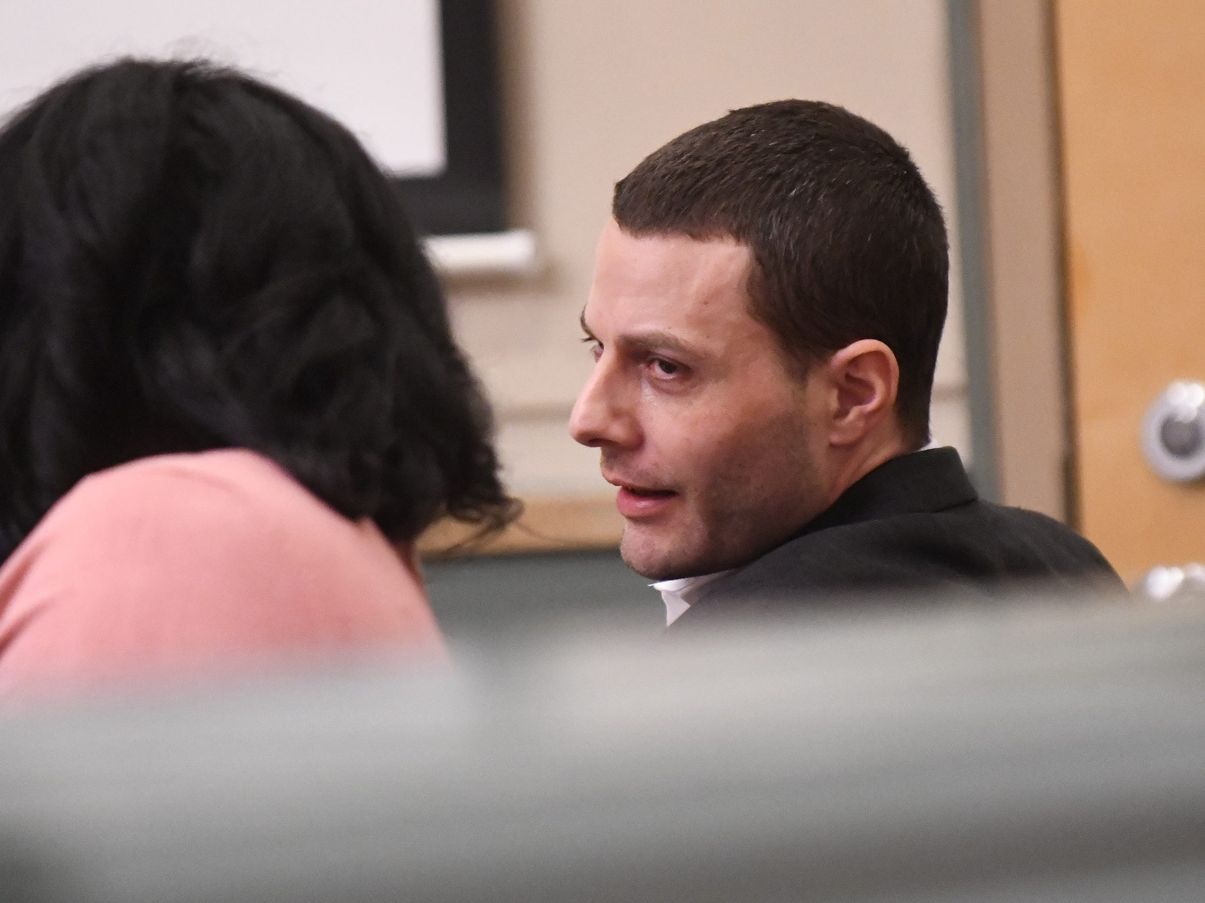 Opening statements began in Cumberland County Superior Court on Thursday in the murder trial of Jeremiah E. Monell, 34, who has been charged with stabbing to death his estranged wife in 2016. 1/3/2019.