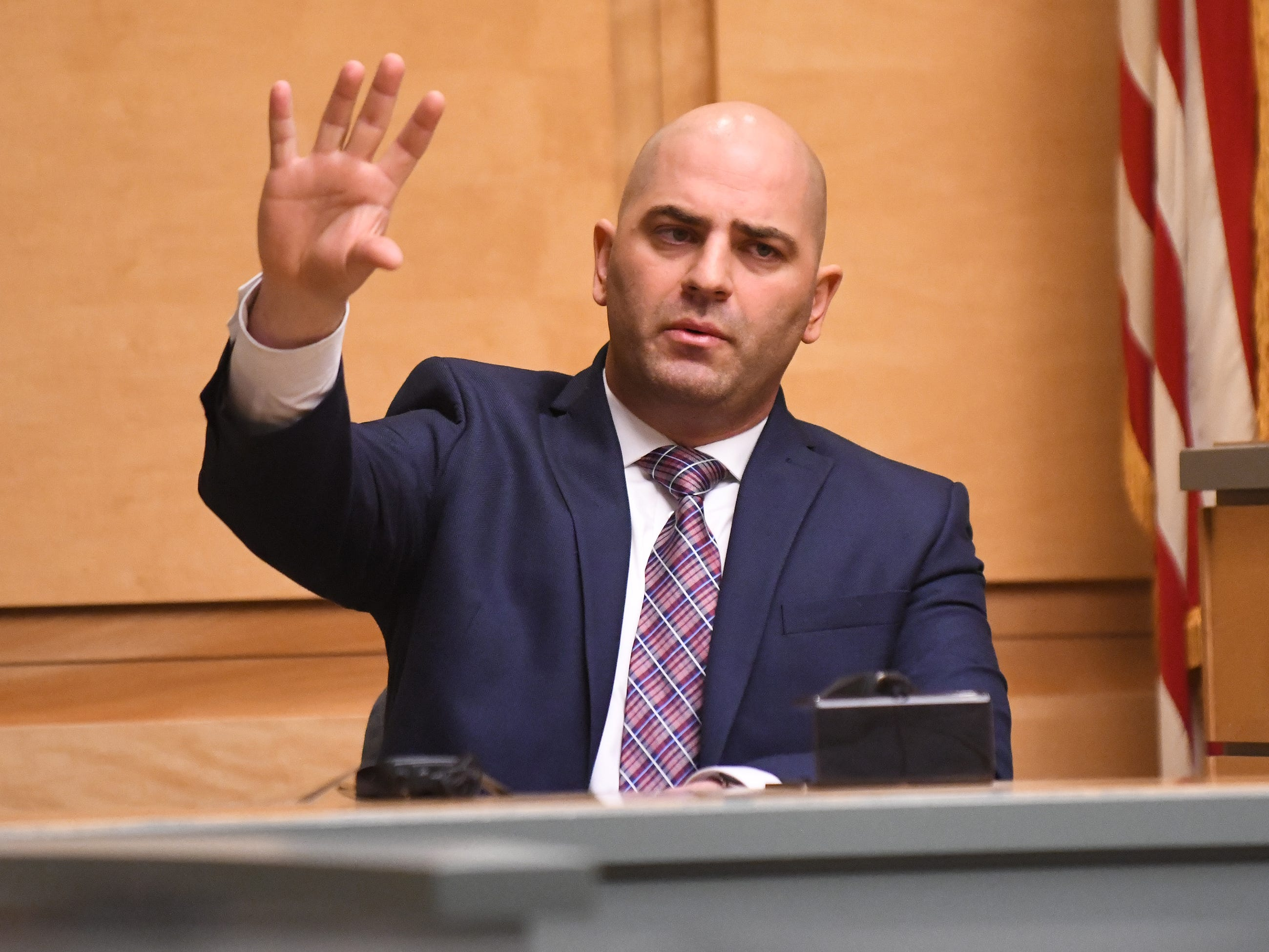 New Jersey State Police Detective Michael Hughes describes the crime scene during the murder trial of Jeremiah E. Monell in Cumberland County Superior Court on Thursday, January 3, 2019.