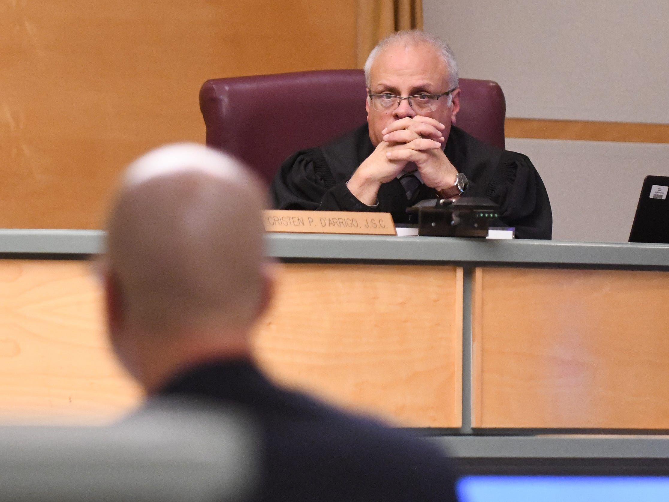 Judge Cristen D'Arrigo listens to opening statements in the murder trial of Jeremiah E. Monell in Cumberland County Superior Court on Thursday, January 3, 2019.